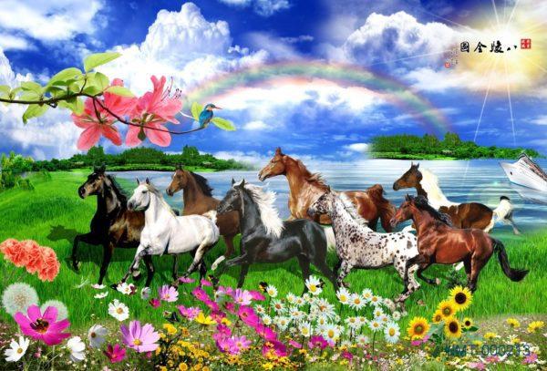 Tranh dán tường 3D Bầy ngựa trở về