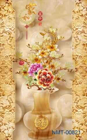 Tranh dán tường 3D Bình hoa quý