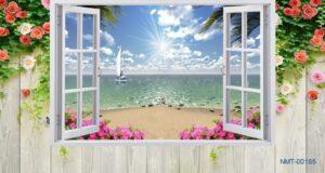Tranh dán tường 3D Bình minh trên biển