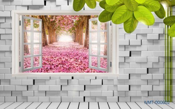 Tranh dán tường 3D Con đường hạnh phúc