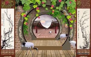 Tranh dán tường 3D Con đường hoàng cung