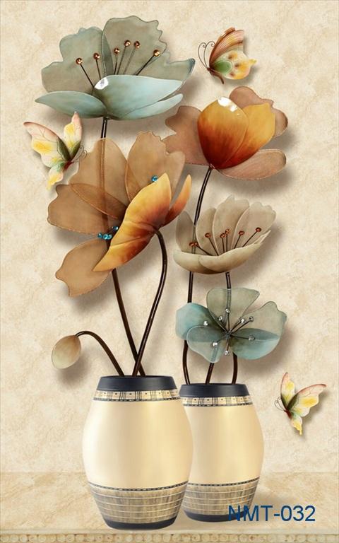 Tranh dán tường 3D hoa bươm bướm