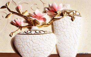 Tranh dán tường 3D Hoa sứ cành vàng lá ngọc
