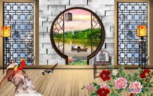 Tranh dán tường 3D Hoàng hôn trên sông quê