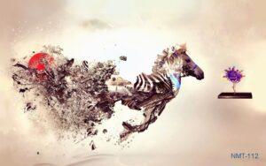 Tranh dán tường 3D Ngựa phi nước đại cách điệu