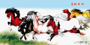 Tranh dán tường 3D Ngựa phi trên đồng cỏ
