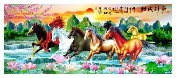 Tranh dán tường 3D Ngựa và hoàng hôn