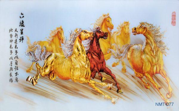 Tranh dán tường 3D Ngựa vàng
