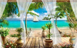 Tranh dán tường 3D Nhìn ra cảnh biển