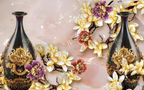 Tranh dán tường 3D Những bình hoa đẹp