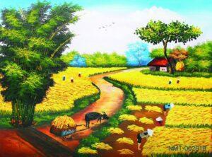 Tranh dán tường 3D phong cảnh đồng quê