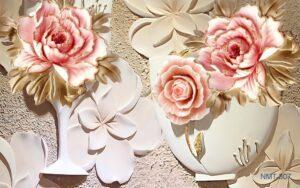 Tranh dán tường 3D sắc hồng ngày nắng
