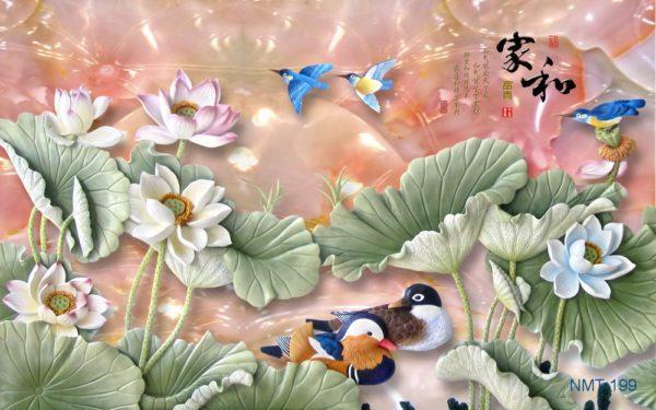 Tranh dán tường 3D Sen cùng chim muông