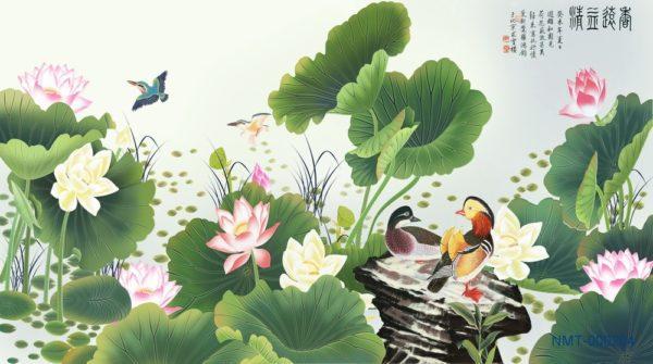 Tranh dán tường 3D Sen nở mùa hạ