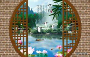 Tranh dán tường 3D Thác nước quê hương