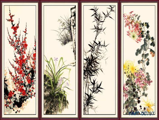 Tranh dán tường 3D Tứ quý bốn mùa thanh lịch nhã nhặn