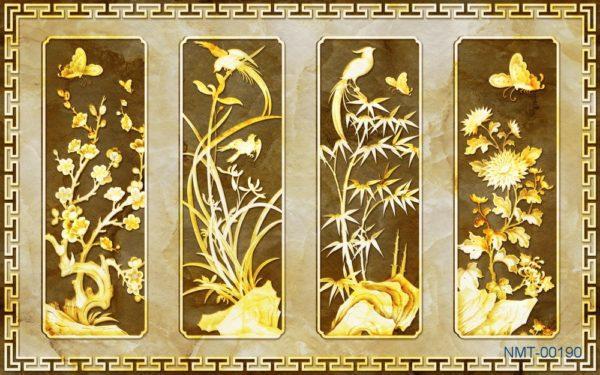Tranh dán tường 3D Tứ quý vàng ánh kim sang trọng