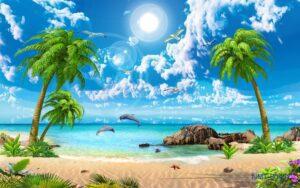 Tranh dán tường 3D Biển xanh ngày nắng