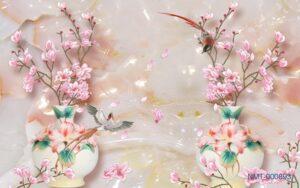 Tranh dán tường 3D Bình hoa mùa thu