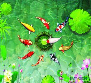 Tranh dán tường 3D Cá chép dưới đầm sen xanh