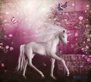 Tranh dán tường 3D Cô ngựa ở xứ sở thần tiên