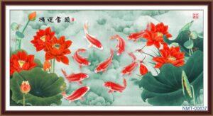 Tranh dán tường 3D Cửu ngư bên hoa sen đỏ