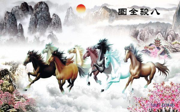 Tranh dán tường 3D Đàn ngựa trong chiều hoàng hôn