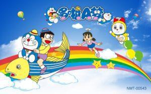 Tranh dán tường 3D Doraemon cùng những người bạn