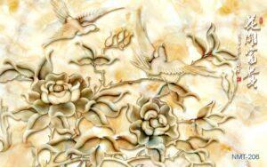 Tranh dán tường 3D giả đá Chim và hoa