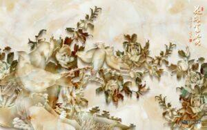 Tranh dán tường 3D giả đá Mùa xuân