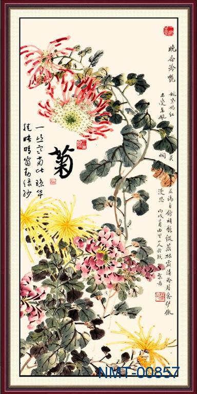 Tranh dán tường 3D Hoa cúc mùa đông