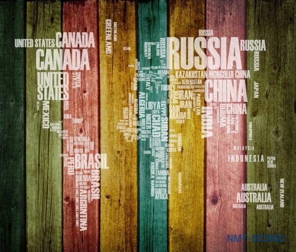 Tranh dán tường 3D Những cái tên quốc gia trên thế giới