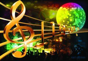 Tranh dán tường 3D Quả cầu âm nhạc