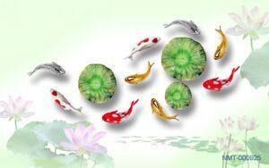 Tranh dán tường 3D quần ngư hội tụ và hoa sen