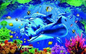 Tranh dán tường 3D Thế giới thủy cung