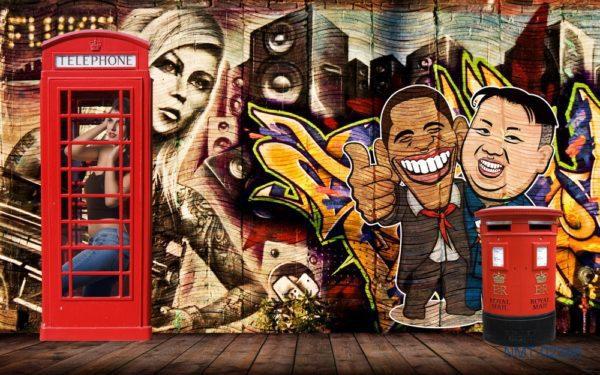 Tranh dán tường 3D âm nhạc đường phố