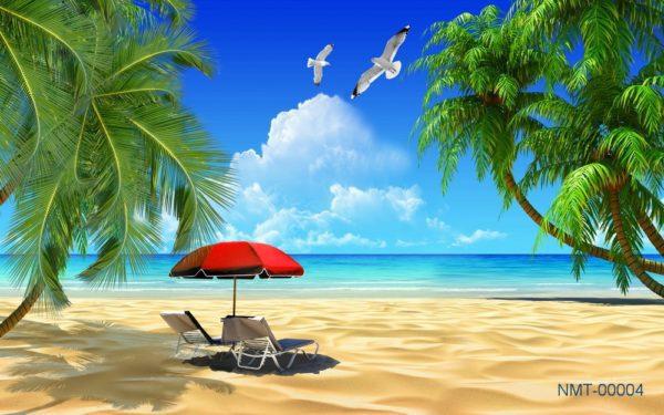Tranh dán tường 3D Biển xanh cát trắng nắng vàng