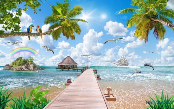 Tranh dán tường 3D Đại dương trong mơ