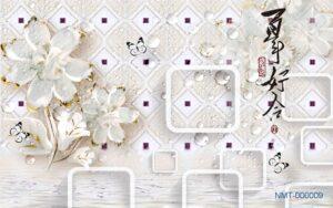 Tranh dán tường 3D Hoa thuỷ tinh