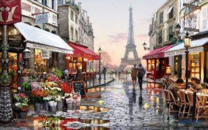 Tranh dán tường 3D Hoàng hôn ở Paris