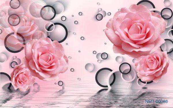 Tranh dán tường 3D Sắc hồng
