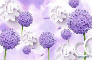 Tranh dán tường 3D Sắc tím hoa tươi