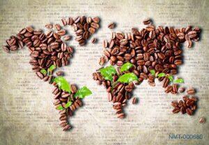 Tranh dán tường 3D Thế giới cà phê