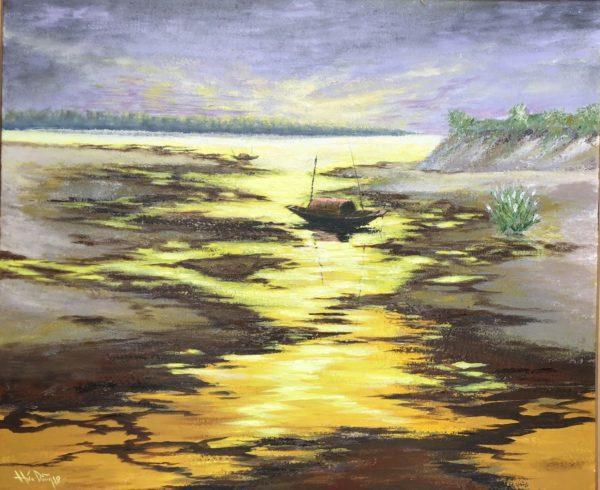 Tranh Hoàng Hôn Trên Sông