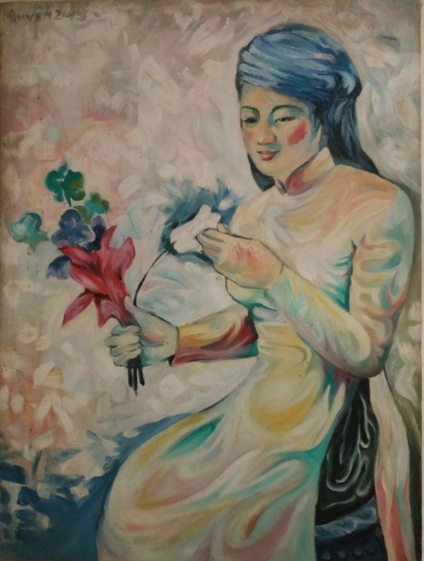 Tranh Cô gái và Hoa