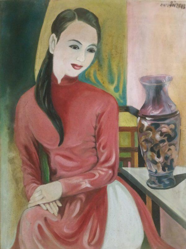 Tranh Thiếu nữ và bình hoa