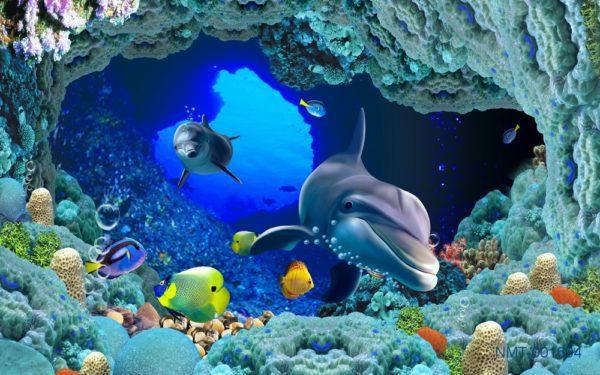 Tranh dán tường 3D Cá heo xanh