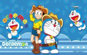 Tranh dán tường 3D Doraemon và Nôbita