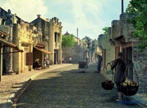 Tranh dán tường 3D Hà Nội của ngày xưa