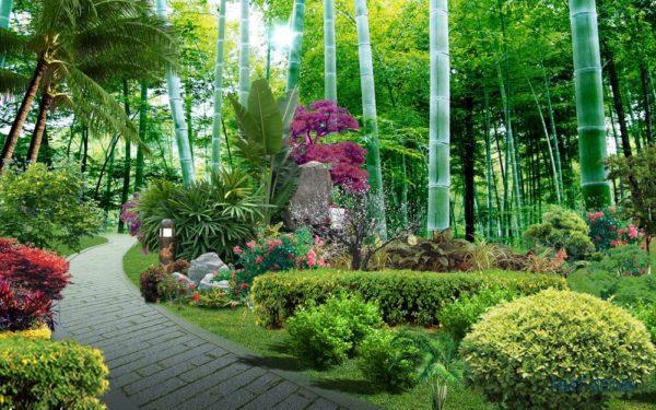 Tranh dán tường 3D Khu vườn thần tiên